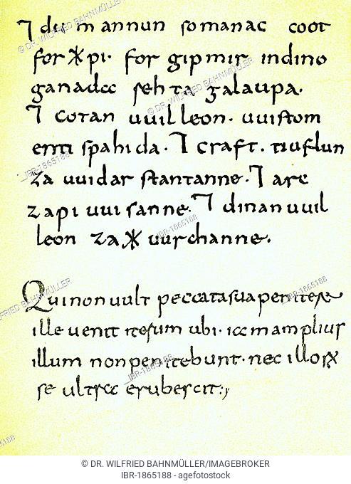 Wessobrunn prayer, written about 790, original, Bayerische Staatsbibliothek Munich library