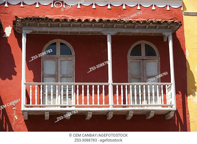 View to the balcony of a colonial building at the historic center, Cartagena de Indias, Bolivar, Colombia, South America