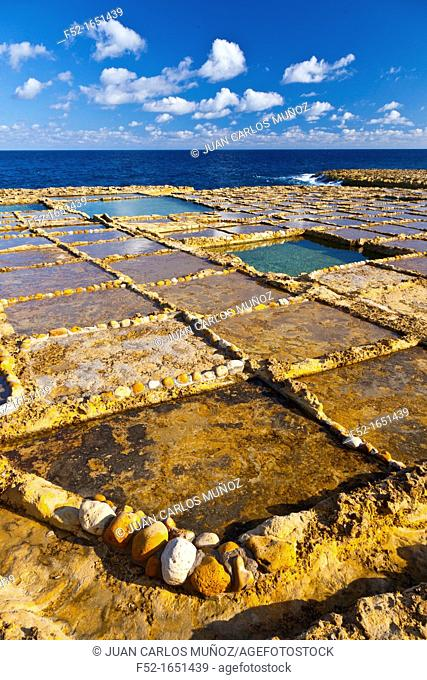 Salt Pans, Qbajjar Village, Gozo Island, Malta, Europe