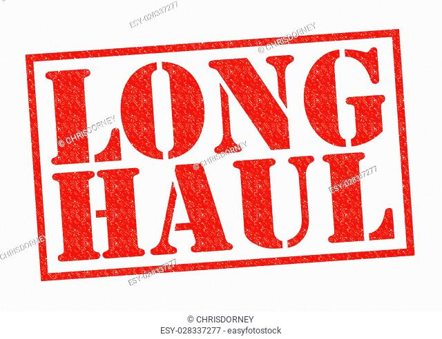 LONG HAUL red Rubber Stamp over a white background