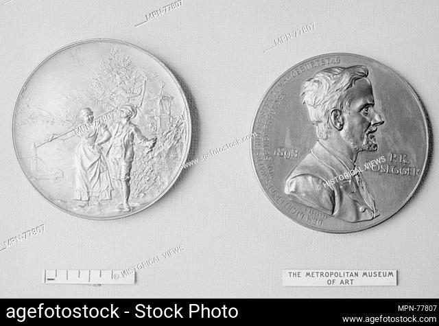 In Honor of the 50th Birthday of the Poet and Novelist, P.K. Rosegger. Artist: Medalist: Anton Scharff (Austrian, Vienna 1845-1902); Date: 1893; Culture:...