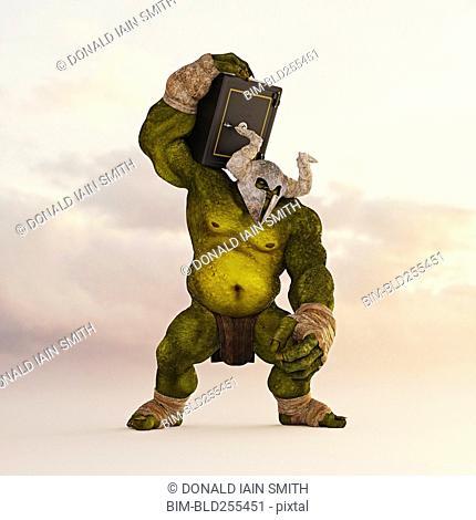 Giant green ogre carrying safe on shoulder