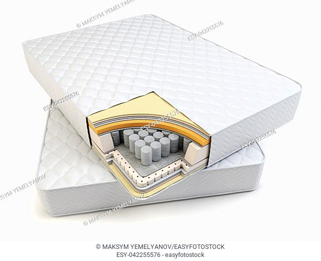 Orthopedic mattress layers and with pocket springs. 3d illustration