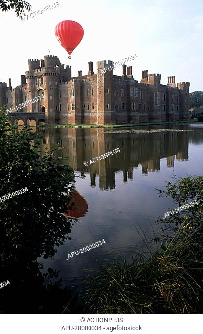 Hot air ballooning over Herstmonceux Castle