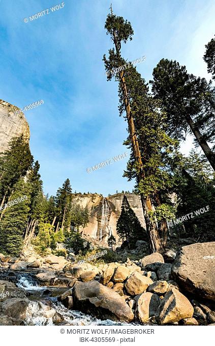 Merced River with Nevada Fall, Mist Trail, Yosemite National Park, California, USA, North America