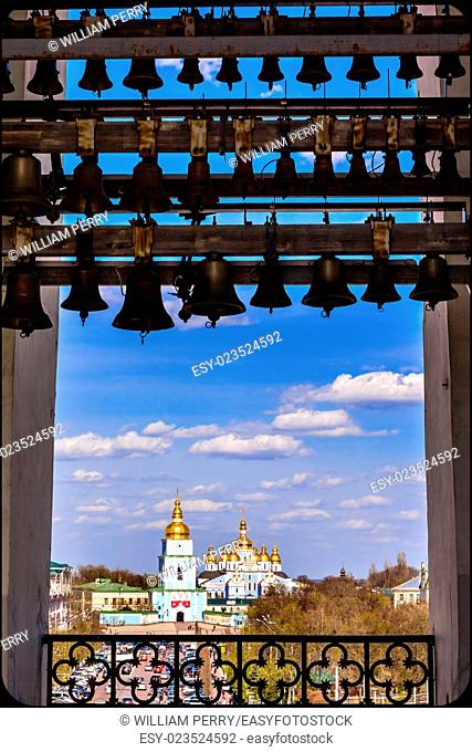 Saint Michael Cathedral from Saint Sophia Sofia Cathedral Bell Tower Golden Dome Sofiyskaya Square Kiev Ukraine. Saint Sophia is oldest Cathedral and Church in...