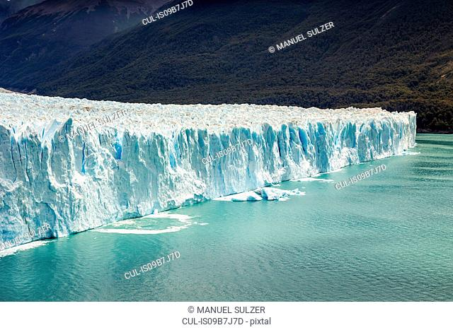 View of lake Argentino and Perito Moreno Glacier in Los Glaciares National Park, Patagonia, Chile