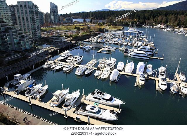 View of marina, Coal Harbour, Vancouver, British Columbia