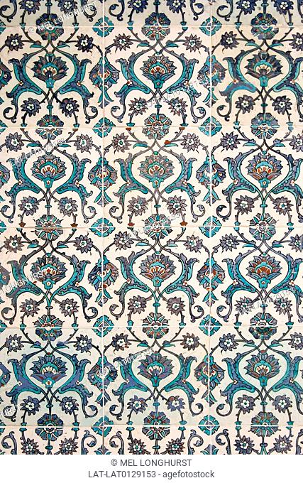The Imperial Harem, the women's quarters in the Topkapi Palace or the Topkapi Sarayi, is richly decorated with Iznik glazed tiles