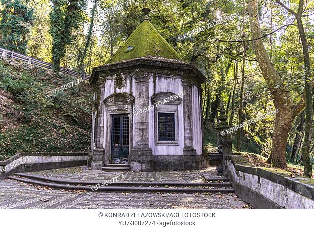 One of chapels of Stations of Cross in Bom Jesus do Monte (Good Jesus of the Mount) sanctuary in Tenoes, outside the city of Braga, Portugal