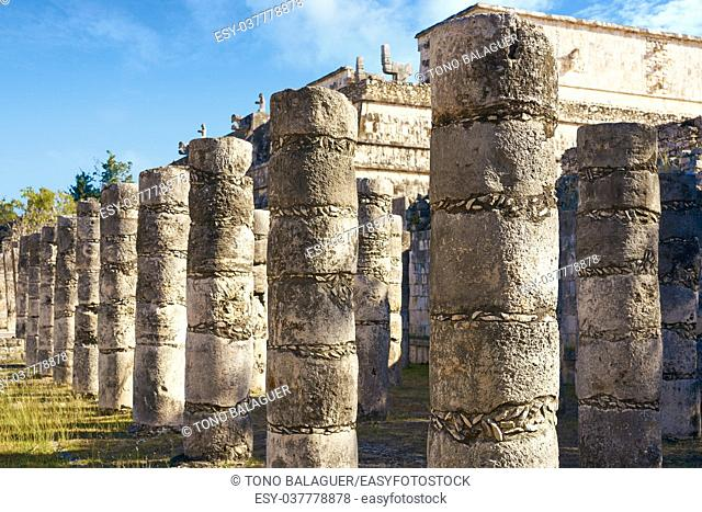 Chichen Itza one thousand columns temple at Yucatan Mexico