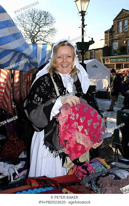 England Nth Yorkshire Grassington Dickensian Christmas Festival Character at the market