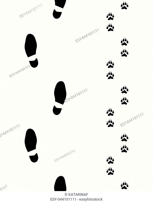 Footprints of man and dog on a gray background, Seamless illustration