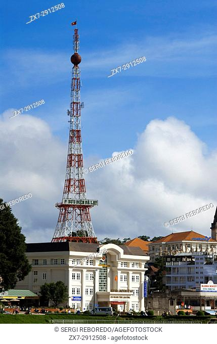 "View of Dalat with the """"Dalat Eiffel Tower"""", Dalat, Central Highlands, Vietnam, Asia. Asia, Dalat, tower, rook, highland, South-East Asia, town, view"