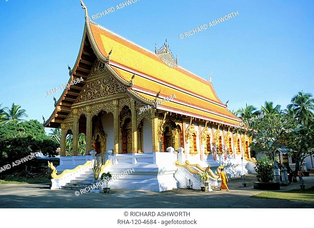 Recently restored Wat Xieng Muan, Luang Prabang, UNESCO World Heritage Site, Laos, Indochina, Southeast Asia, Asia
