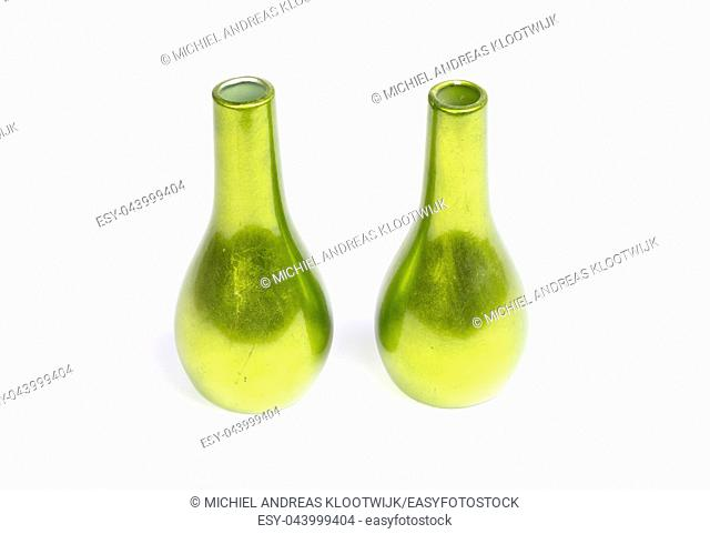 Green vases isolated on a white background