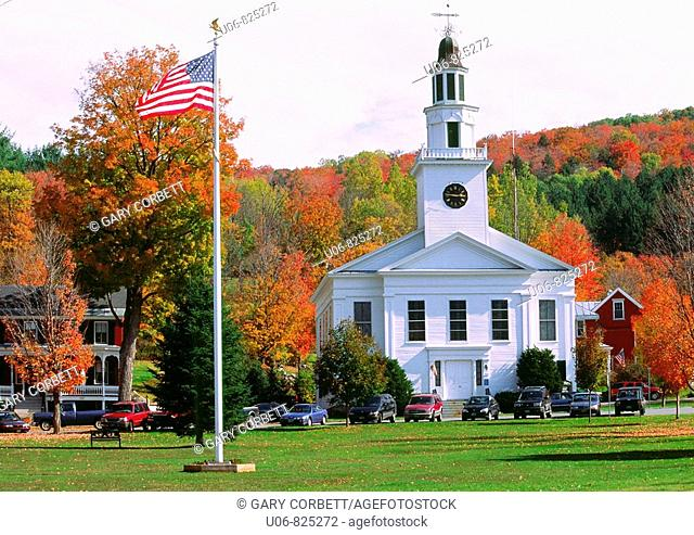 Autumn in the town of Chelsea in Vermont State in the USA
