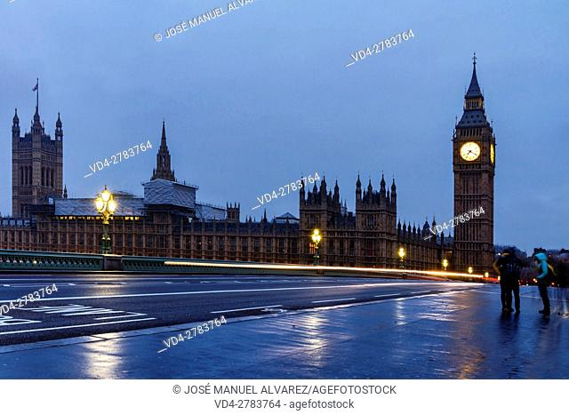 Big Ben and Palace of Westminster at night. London, United Kiingdom