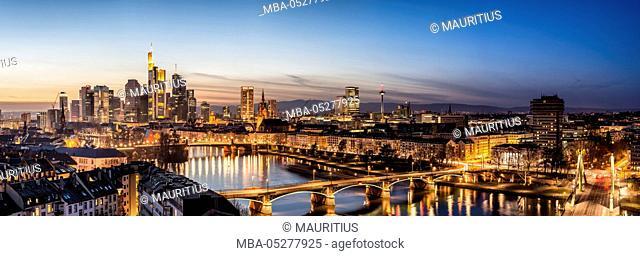 Frankfurt, Hesse, Germany, Frankfurt skyline financial district at dusk