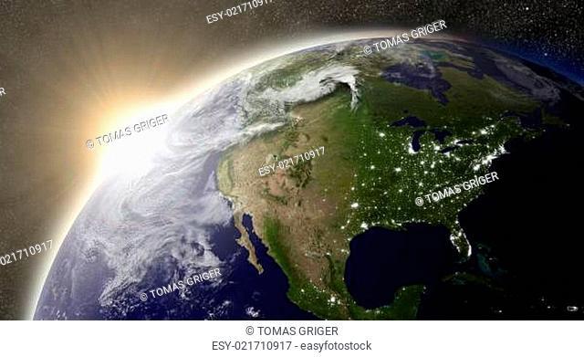 Sun over North America