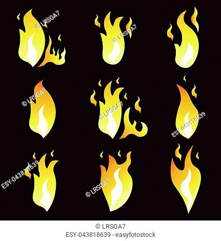 Set of animation fire and illustration of various fire. Cartoon and flat style. Explosion animation frames. Vector illustration. Black background