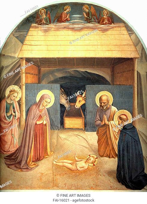 Nativity. Angelico, Fra Giovanni, da Fiesole (ca. 1400-1455). Tempera on panel. Renaissance. c. 1450. San Marco, Florence. 177x148. Painting
