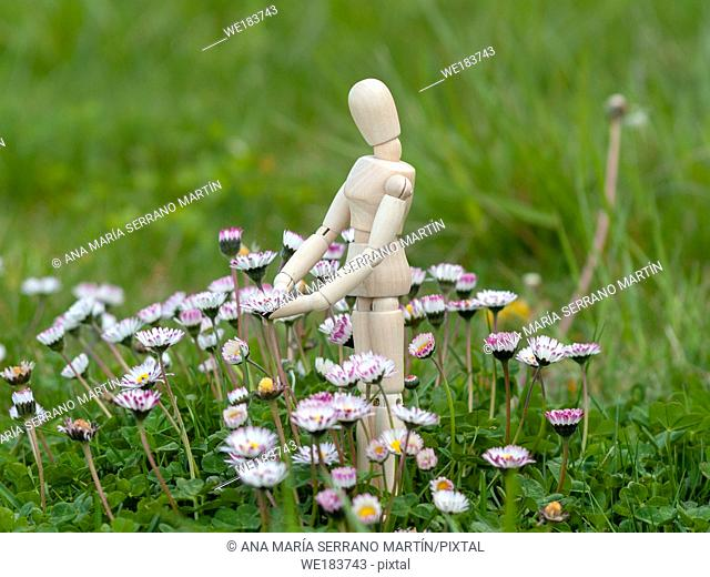 Wooden mannequin between flowers on spring time Ecology concept