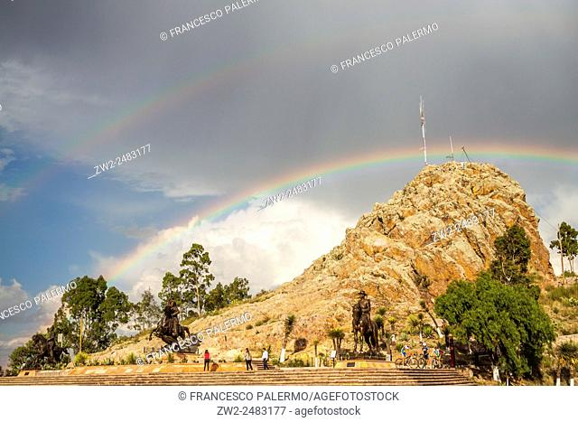 Cierro of the Bufa under a colorful rainbow after a summer storm. Zacatecas, ZAC. Mexico