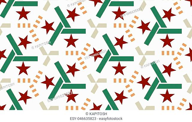 beautiful mosaic flat abstract multicolored geometric ornament for Wallpaper, textiles, ceramics. Seamless retro star pattern on white background