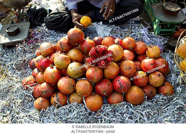 Fresh pomegranates in market