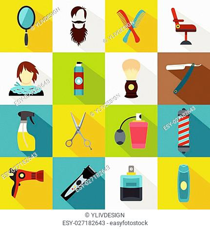Hairdressing icons set. Flat illustration of 16 hairdressing travel vector icons for web