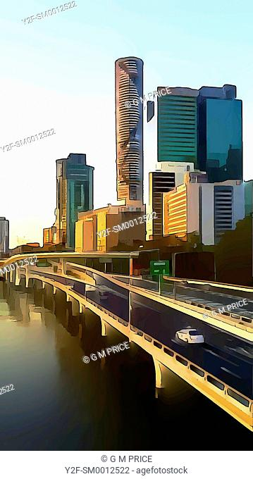 cartoon filter view of motorway by the Brisbane River and Brisbane city skyline