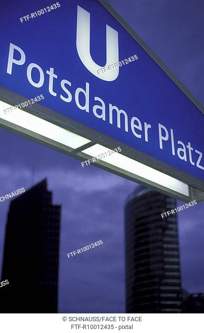 Entrance to the subway, Potsdamer Platz, Berlin, Germany