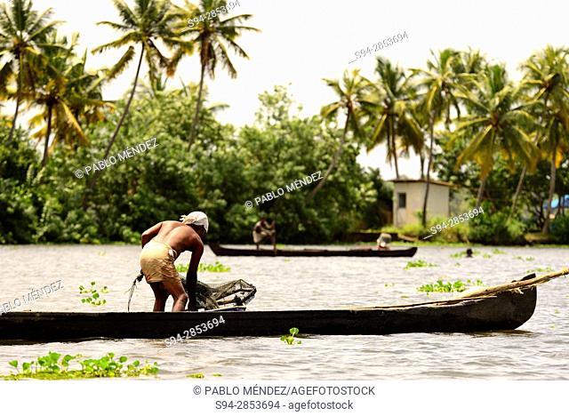 Fisherman in the Backwaters of Kerala, Allepey, Kerala state, India