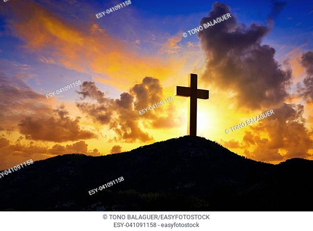 Crucifixion cross symbol of Golgotha in Christian religion photo mount