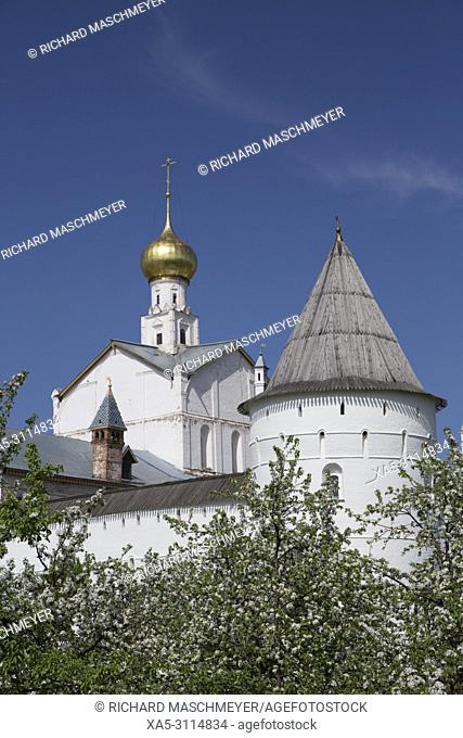 Miracle-Image of the Saviour Church with Blossoming fruit trees, Kremlin, Rostov Veliky, Golden Ring, Yaroslavl Oblast, Russia