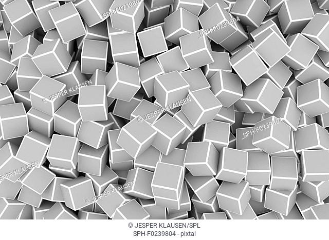 Chaotic grey 3d cubes background, illustration