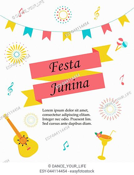 Bright poster temlate with colorful elements for Festa Junina