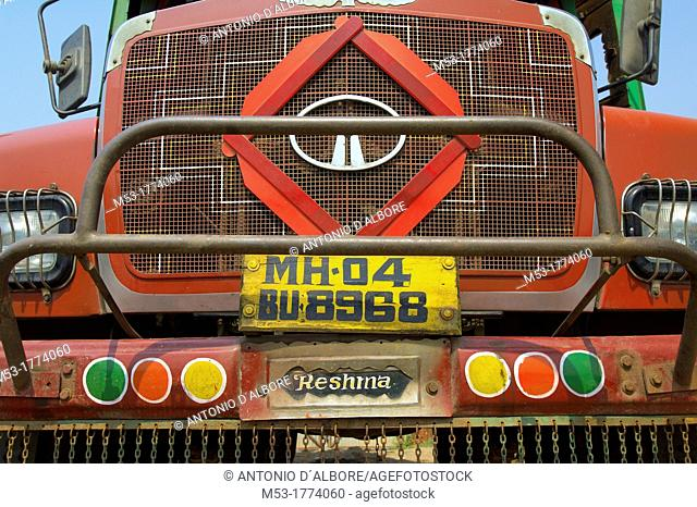 Front view of a Tata indian truck