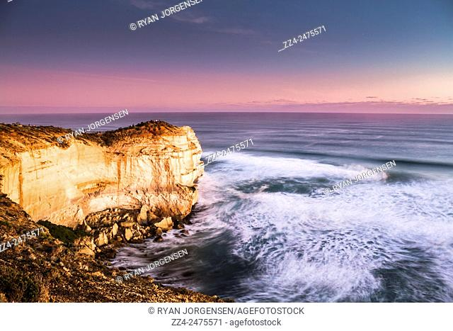 Long motion exposure on the lookout to the Twelve Apostles natural landmark near the Great Ocean Road. Victoria, Australia