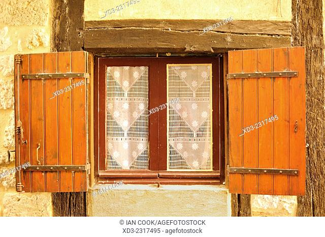 window with shutters, Issegeac, Dordogne Department, Aquitaine, France