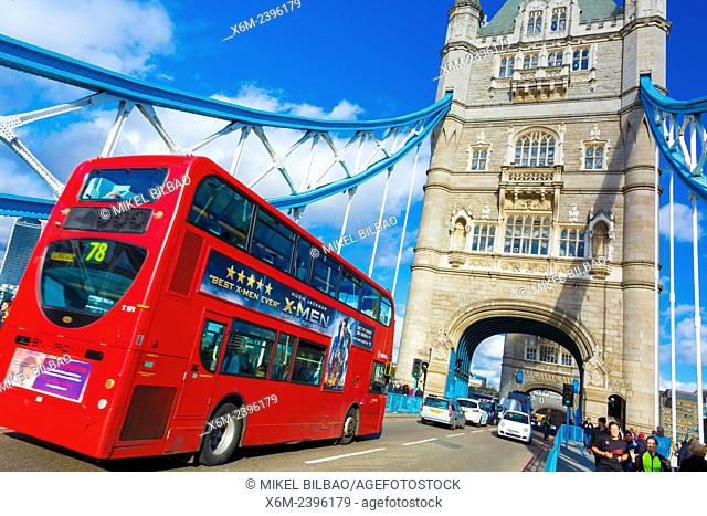 Tower Bridge and traffic. London, United Kingdom, Europe