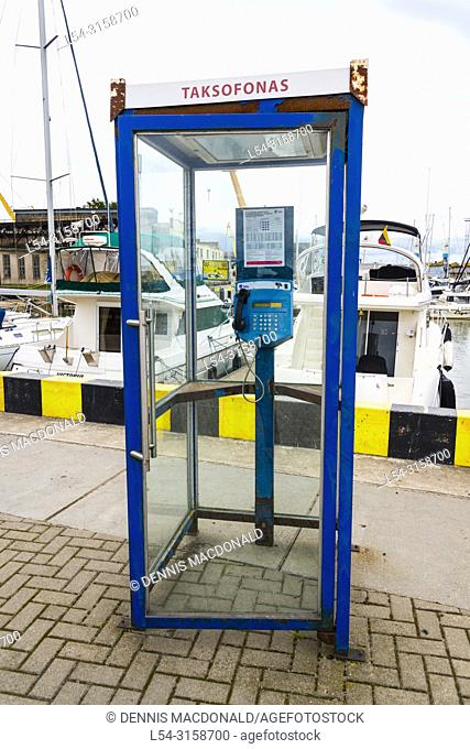 Klaipeda Lithuania a popular cruise ship destination on the Baltic Sea telephone booth