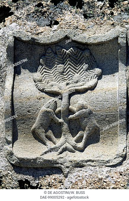 Heraldic symbol, relief in the Castle of the Dukes of Albuquerque, 1462-1474, Mombeltran, Castile and Leon. Spain, 15th century