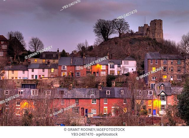 Lewes Castle and Surrounding Houses, Lewes, Sussex, UK
