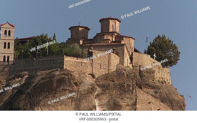 16th century rock pillar top eastern Orthodox Monastery of St. Stephen, Meteora mountains, Greece