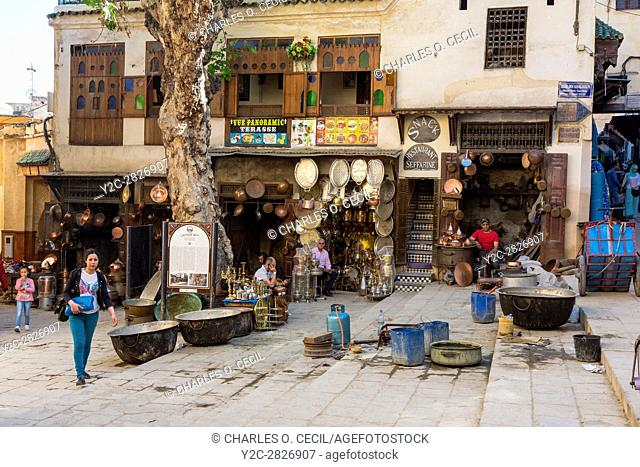 Fes, Morocco. Seffarine Square (Place Seffarine), the Metalworkers Square