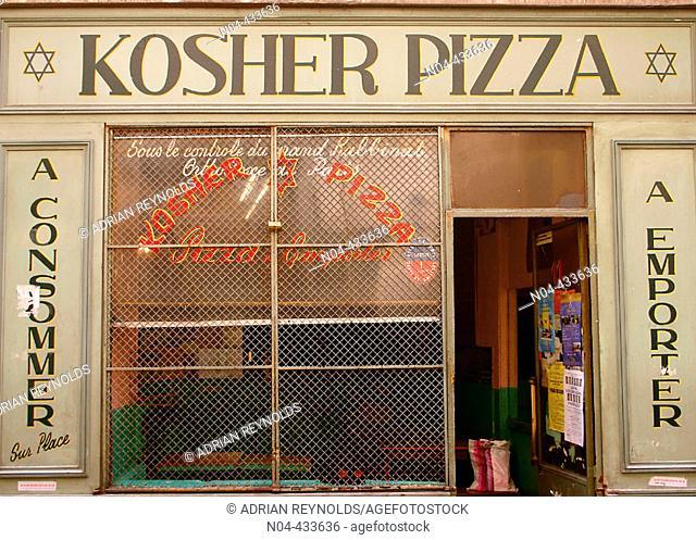 Kosher pizza, Le Marais distric. Paris, France