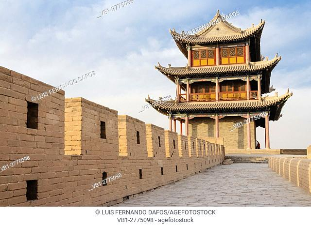 Jiayuguan fort at the western confine of the Great Wall. Jiayuguan, Gansu province, China, Asia The pass was a key waypoint of the ancient Silk Road