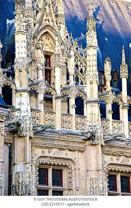 Law Courts, Justice Palace facade ( detail), ( 15th 16th c.)Rouen 76000, upper Normandy, France